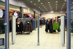 Entrance in clothes section in store stock image