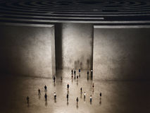 Entrance of complicated maze. 3D Rendering Stock Photography