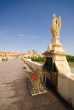 The entrance of cordoba. With view on the city and the The Archangel Gabriel on the puente romano to protect the city Royalty Free Stock Photo