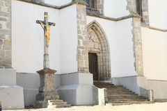 Entrance and cross of Church of the Assumption Royalty Free Stock Photography