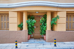Entrance with curved pediment, Athens Greece Stock Photography