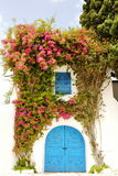 Entrance decorated with flowers Stock Images