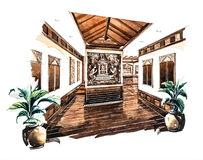 Entrance design for Lanna restaurant of watercolor painting Stock Photography