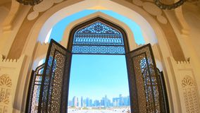 Entrance of Doha Mosque. Decorated entrance gate of Grand Mosque in West Bay area, Doha in Qatar. Qatar State Mosque in arab style, Middle East, Arabian stock video footage