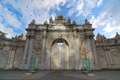 Entrance of Dolmabahce Palace, Istanbul, Turkey. Beautiful example to late Ottoman architecture and stone work Royalty Free Stock Image