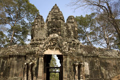 Entrance door in Angkor Stock Image
