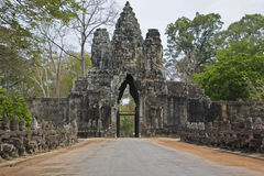 Entrance door in Angkor archeological site, Siem R Stock Photo