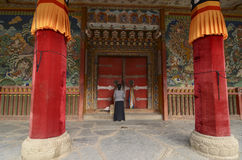 Entrance door of a Buddhist temple Stock Photo