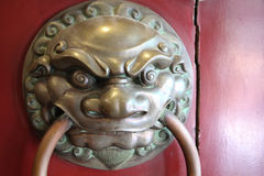 Entrance door of chinese temple Stock Photo