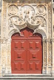 Entrance door of church. In Batalha, Portugal royalty free stock image