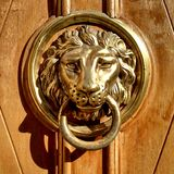 Entrance door details. Details of entrance door of building in Lviv city (City of Lion), Ukraine Stock Photos