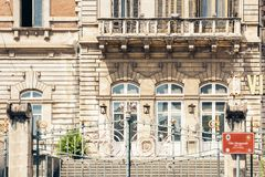 Entrance door, facade of old baroque building in Catania, traditional architecture of Sicily, Italy.  royalty free stock photography