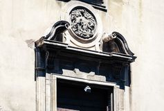 Entrance door, fragment of ancient cathedral, the view of the city of Catania, Sicily, Italy.  stock photography