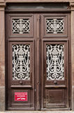 Entrance door of an historical building in Strasbourg France- no parking sign Royalty Free Stock Photography