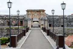 The entrance door of La Cabana fortress at Havana stock photography
