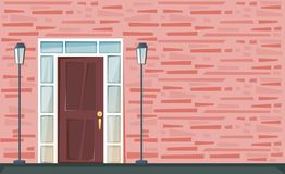 Free Entrance Door On The Red Brick Wall With Lanterns. Bright Vector Illustration. Stock Images - 142881054