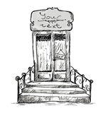 Entrance door, shop-window drawing Stock Photos