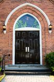 Entrance door with stained glass Royalty Free Stock Photo