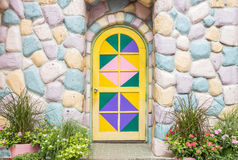 Entrance door and stone colorful Stock Image