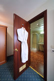Entrance door to bathroom open. Royalty Free Stock Images