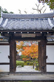 Entrance door to beautiful Japanese maple garden during autumn at Enkoji Temple in Kyoto, Japan Stock Images
