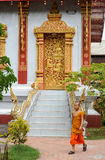 Entrance door of Wat Nong temple in Luang Prabang Royalty Free Stock Image