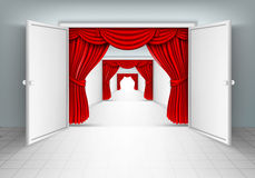 Entrance doors with red curtains Royalty Free Stock Image