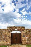 Entrance Doors and Stone Walls of an Old Fort Stock Image