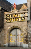 Entrance doors to The Queen's Gallery in Edinburgh, Scotland. Portrait shot of the closed main doors giving access to The Queen's Gallery in Edinburgh. Located Royalty Free Stock Image