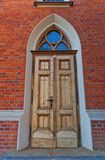 Entrance of Dormition Blessed Mary church in Lodz, Poland Stock Image