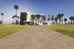 Entrance driveway to a modern tropical villa Stock Image