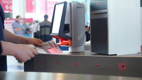 Entrance with e-pass. Media. Automatic checkpoint with contactless access. Turnstile with card reader. Electronic