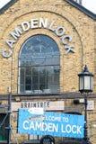 Entrance ensign of Camden Lock market in London Stock Photos