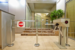 Entrance equipped with turnstile Royalty Free Stock Photography