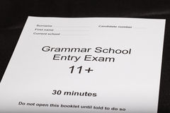 Entrance exam paper Royalty Free Stock Images