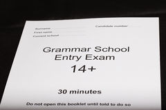 Entrance exam paper Stock Image
