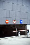 Entrance and exit of parking garage Royalty Free Stock Image