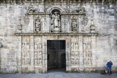 Entrance facade in landmark cathedral of santiago de compostela Stock Image