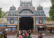 Entrance facade to Nagara Mandapam. Madurai, India - October 19, 2013: The entrance facade to the public market hall called Nagara Mandapam. Police and visitors royalty free stock images