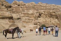 Entrance of the famous ancient city Petra, southern Jordan Stock Photos
