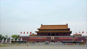 The entrance of the famous Forbidden City's Palace in the Tiananmen Square stock video
