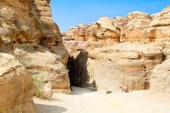 Entrance in fantastic  Siq canyon in Petra Stock Photos