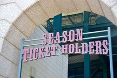 Season Tickets for Sporting Events. This entrance is for football, baseball and other sporting event fans who hold Season Tickets to their favorite team games royalty free stock photography