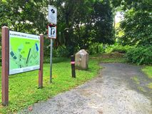 Entrance - forest park. A terrain map at the entrance of a nature trail in Bukit Timah nature reserve, Singapore Stock Photography