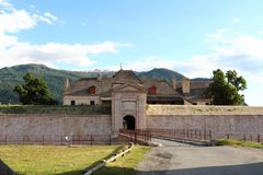 Entrance of Fort of Mont-Dauphin, Hautes Alpes, France stock photos