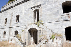 Entrance of front part of 'Coll de ladrones' fort in Canfranc Royalty Free Stock Photography