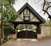 Entrance Gate. Covered Entrance Gate to a Medieval House in Rural England Stock Photography
