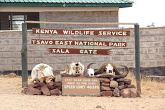 Entrance gate. Of the area east of Tsavo National Park in Kenya, Africa. Some warnings on how to behave inside the Park Royalty Free Stock Photos
