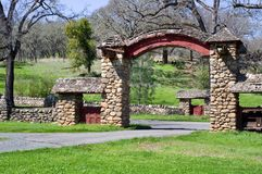 Entrance gate at Aetna Springs California. Stonework gate and walls at the entrance to Aetna Springs California Stock Images