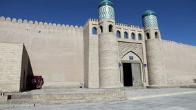 Entrance gate in the ancient city wall. Uzbekistan. Khiva. Entrance gate in the ancient city wall Uzbekistan  Khiva stock video footage
